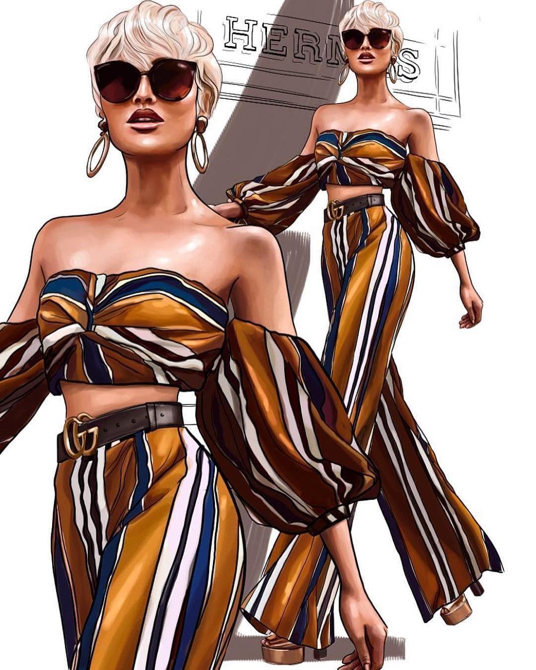 "Photo of Illustration Agency ""P2"" on Instagram: ""Fashion illustration 🖤💛🖤 by P2 Illustrator 🔝 @nastya_kosyanova  Inspired by 💛 @micahgianneli  __________________________ #p2 #art #artist…"""