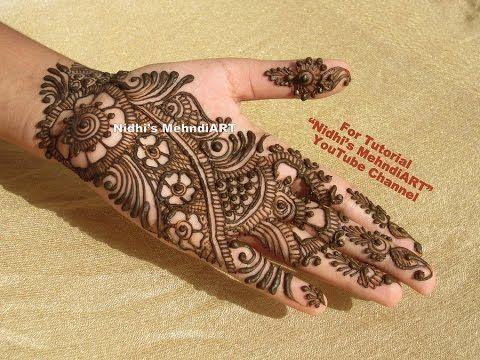 Front Hand Henna Mehndi Design : Youtube best arabic mehndi henna design art creation tutorial for