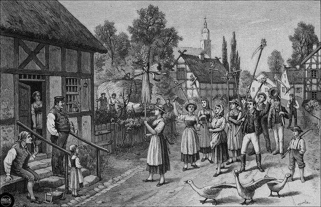 Orig. Holzstich: Erntebrauch in Pommern - Das Einbringen des Alten. Pomorze…