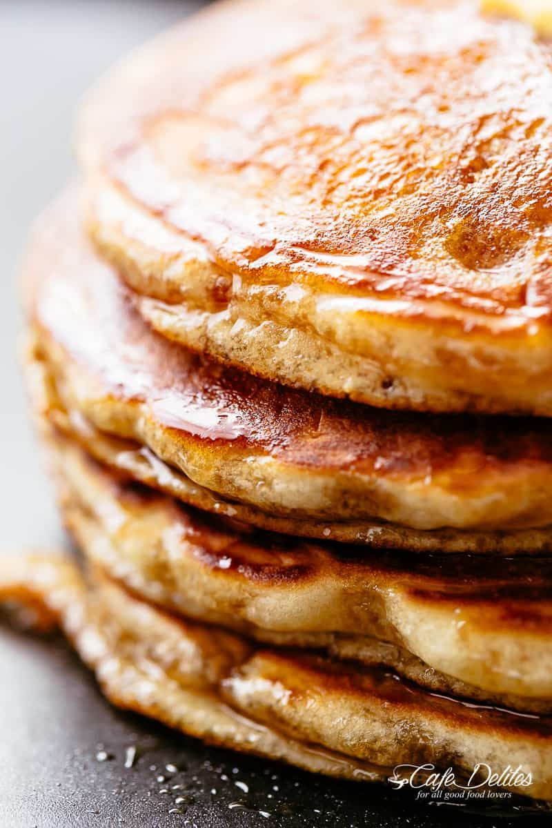 Fluffy Buttermilk Pancakes With Maple Syrup Cafedelites Pancakes Buttermilk Maple Syru Buttermilk Pancakes Breakfast Brunch Recipes Best Breakfast Recipes