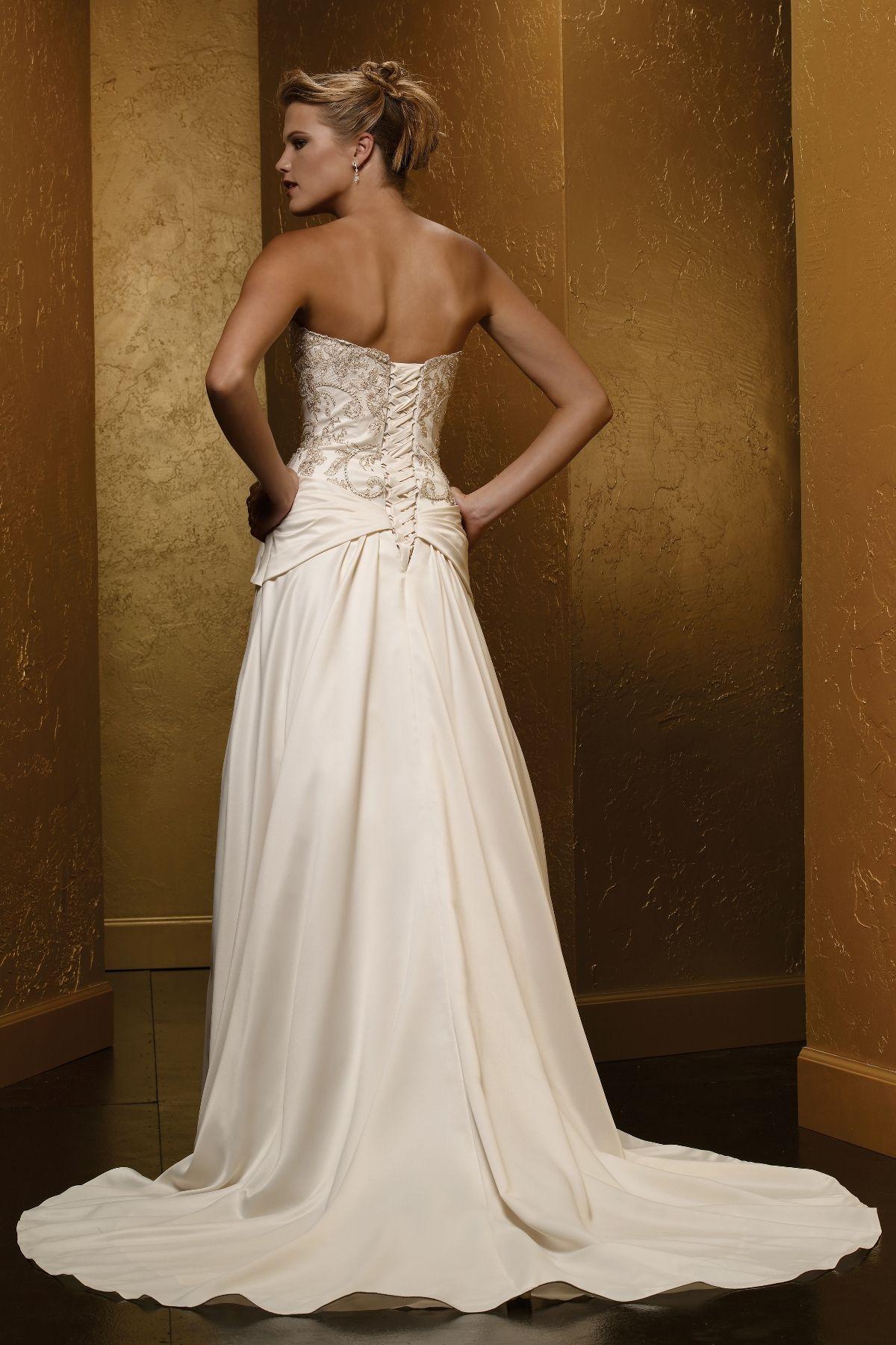 M487C - Satin A-line wedding dress with slight sweetheart neckline ...