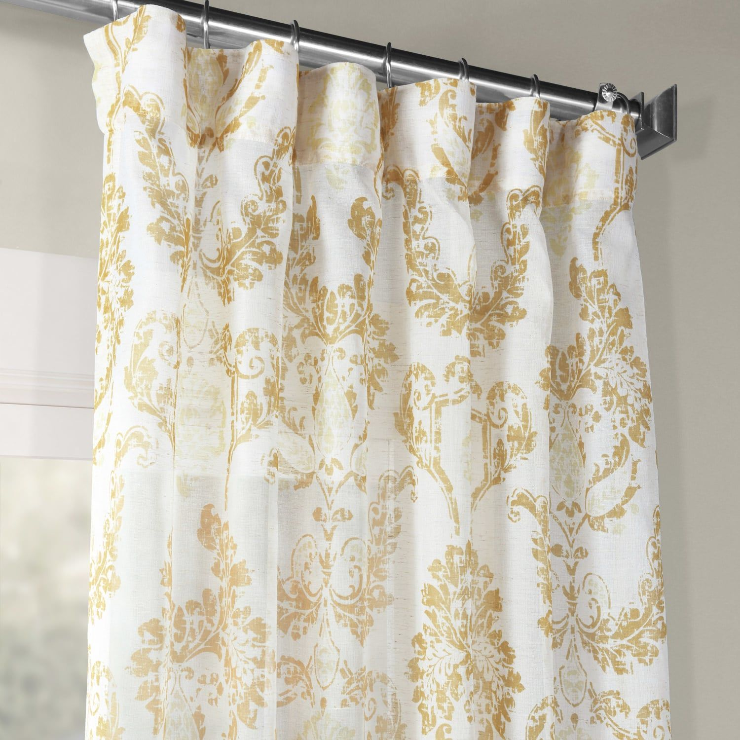 Terrace Gold Printed Faux Linen Sheer Curtain Sheer Linen Curtains Curtains Damask Curtains