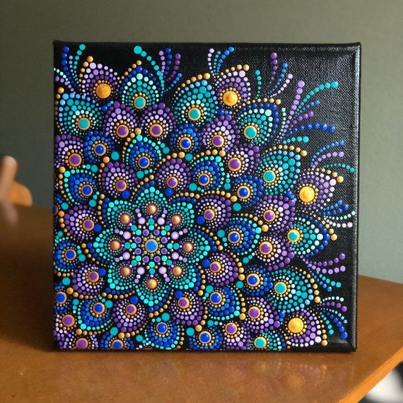 Lovely Dot Mandala Jewel Tones on stretched canvas  8 x 8 Purple, gold, blue, turquoise #mandala