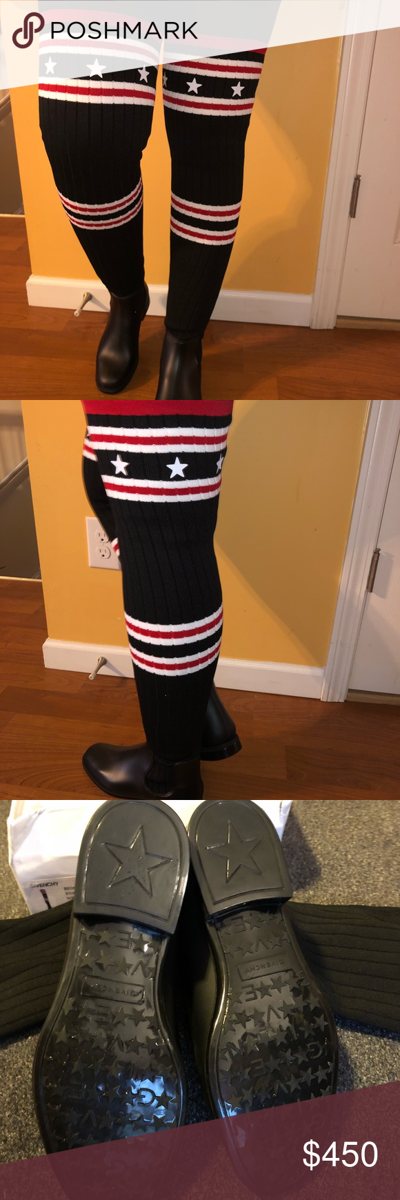 """8fcae6ffb Givenchy over-the-knee sock boot """"Storm"""" Over the knee boot with rubber  base Flat heel Round toe Pull on style Super comfy & super stylish."""