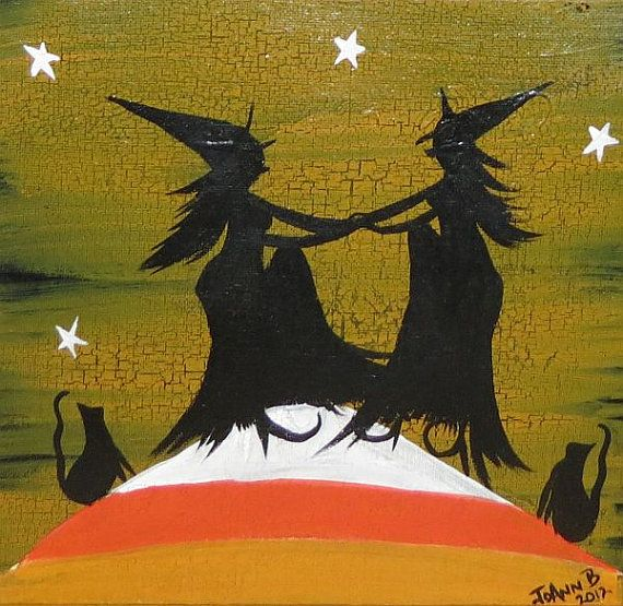 primitive halloween witch painting candy corn hill dancing witches 1500 via etsy - Dancing Halloween