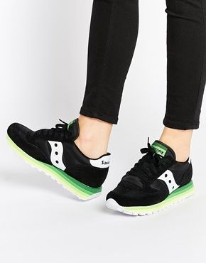 official photos 701d5 c74a0 Saucony Jazz Rainbow Black   Green Suede Trainers