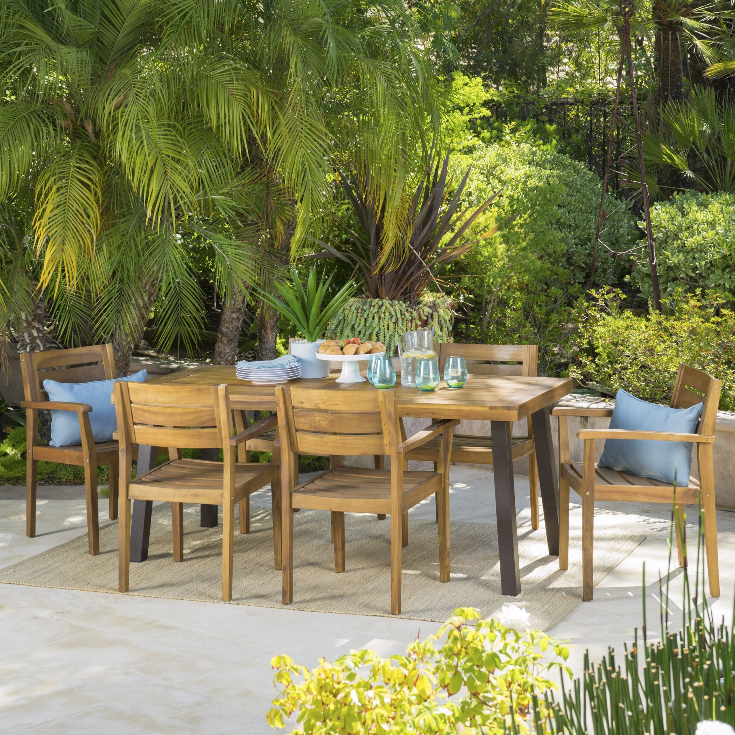 Avon Outdoor Rustic 7 Piece Rectangular Acacia Wood Dining Set By  Christopher Knight Home (