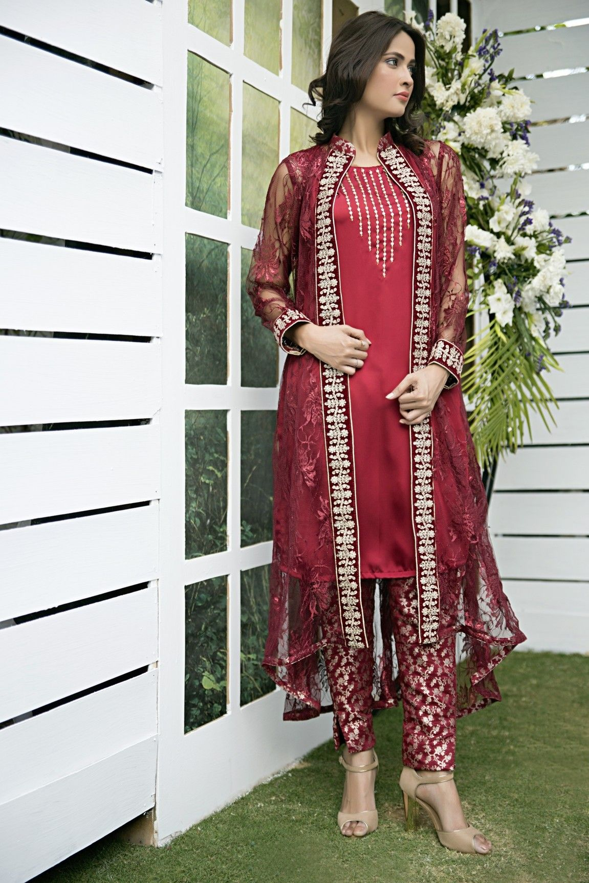 1d3def165eb2 Pakistani Designer Dresses - Lowest Prices - Maroon Chantilly lace ...