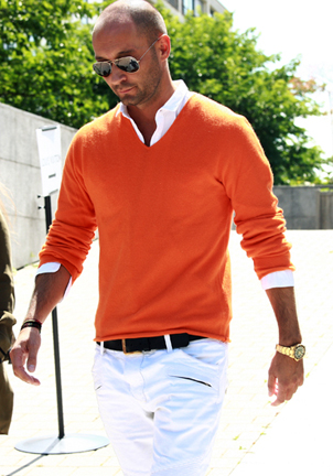 f68f5780 This orange is to die. Why don't more people, especially men wear orange.  This stylishly worn orange sweater is terribly handsome on a man. Biddy  Craft
