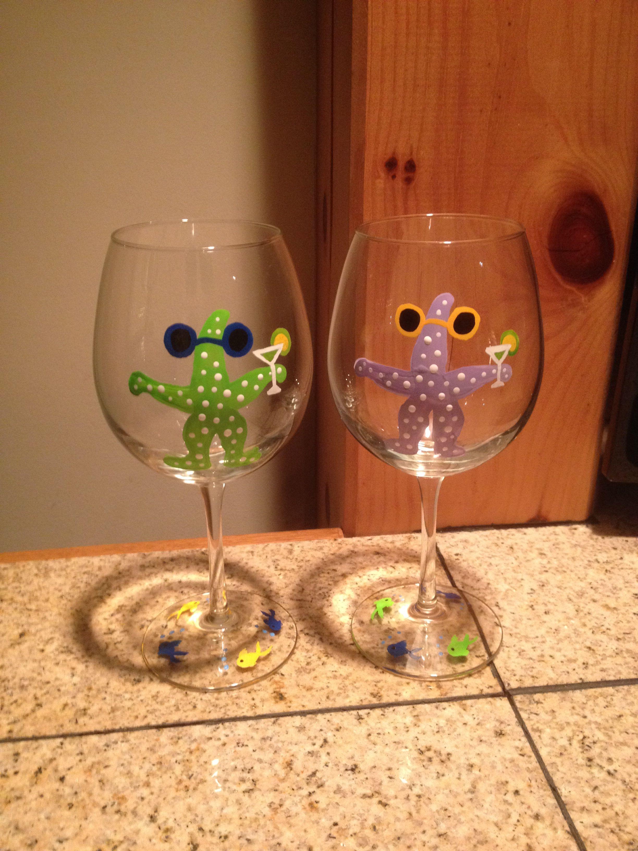 Hand painted wine glasses  Testors model enamel paint will change