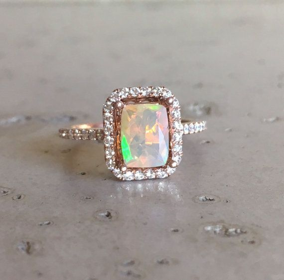 Emerald Cut Opal Engagement Ring Rose Gold Fire Opal Promise Ring