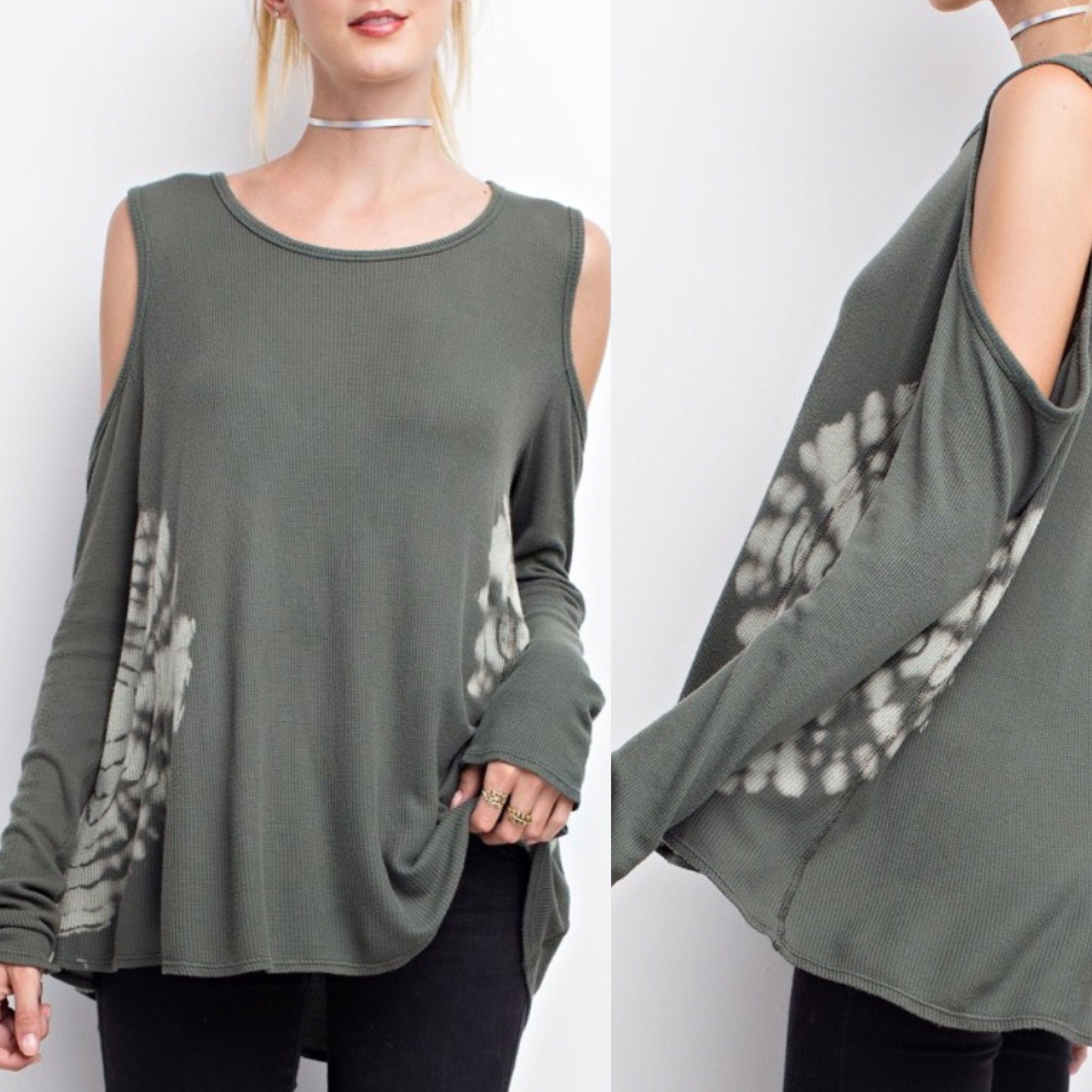 Olive Grey open shoulder Flowy tie dye top