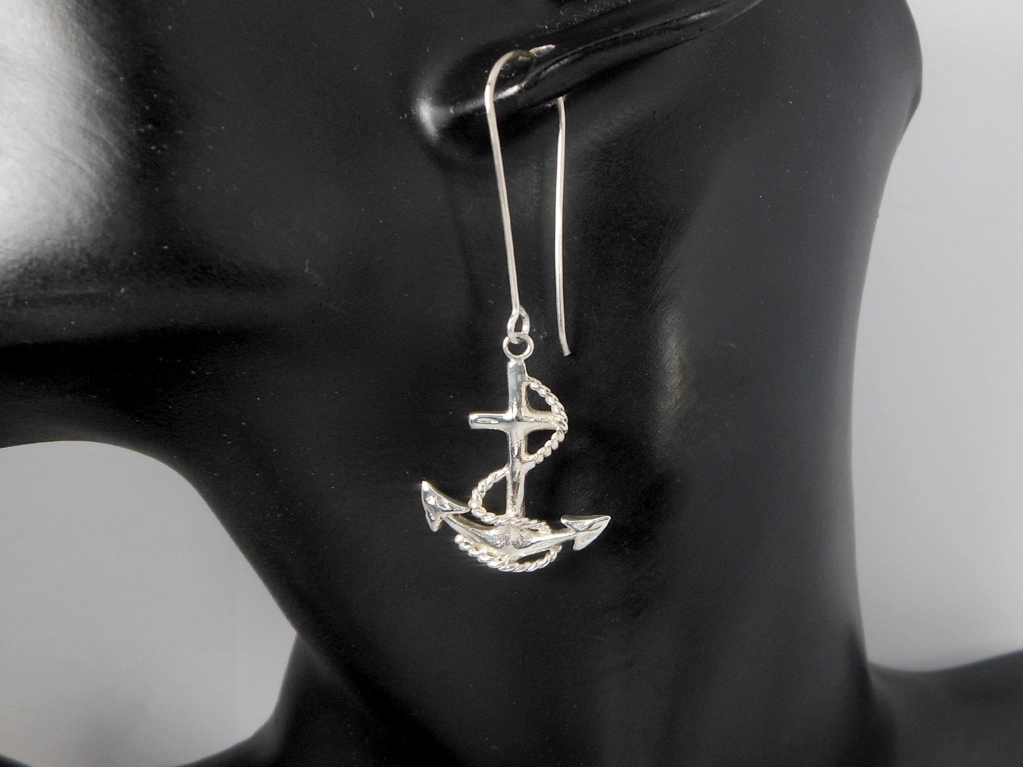 Silver Nautical Earrings Silver Anchor Earrings 925 Sterling Silver Jewelry Long Dangle Nautical Jewelry Holiday Gifts for Her  E701anchor