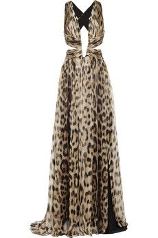 d4b829615349 Roberto Cavalli Cutout leopard-print silk-chiffon gown | NET-A-PORTER What  dreams are made of.