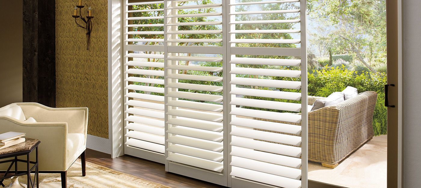 Constructed From A Uv Resistant Polysatin Compound Hunter Douglas Palm Beach Shutters Are Sliding Door