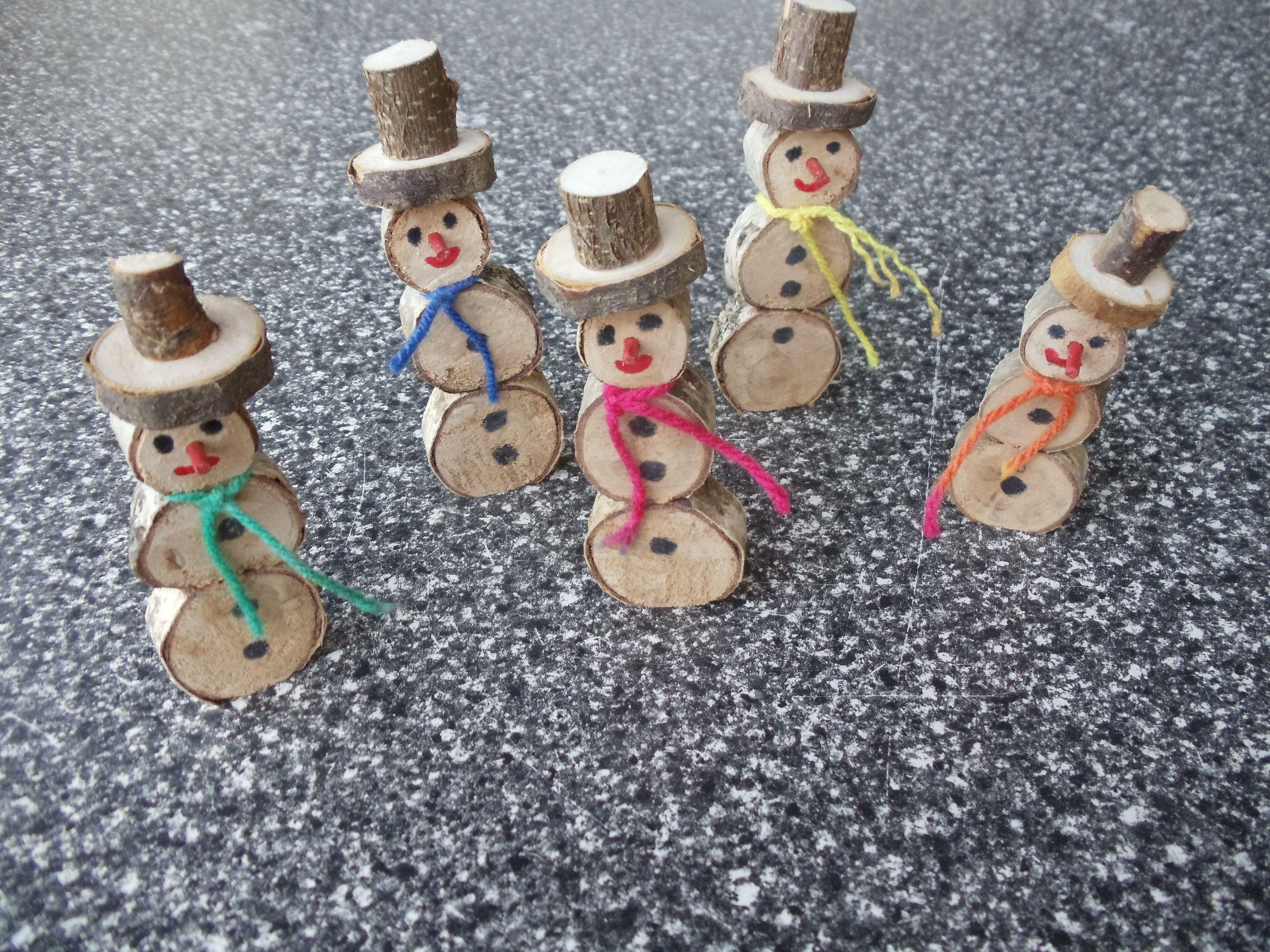 Schneem nner aus birkenscheiben basteln aus holz - Basteln mit birkenholz ...