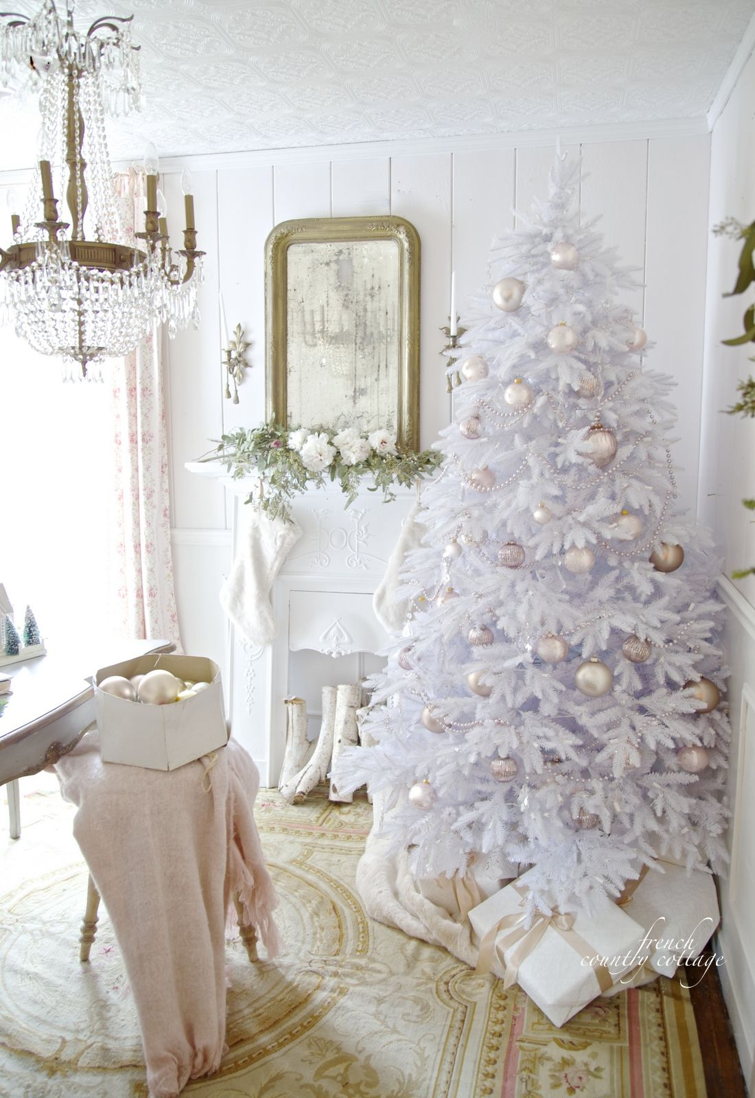 Home for the Holidays- Christmas in White & Blush office tour ...