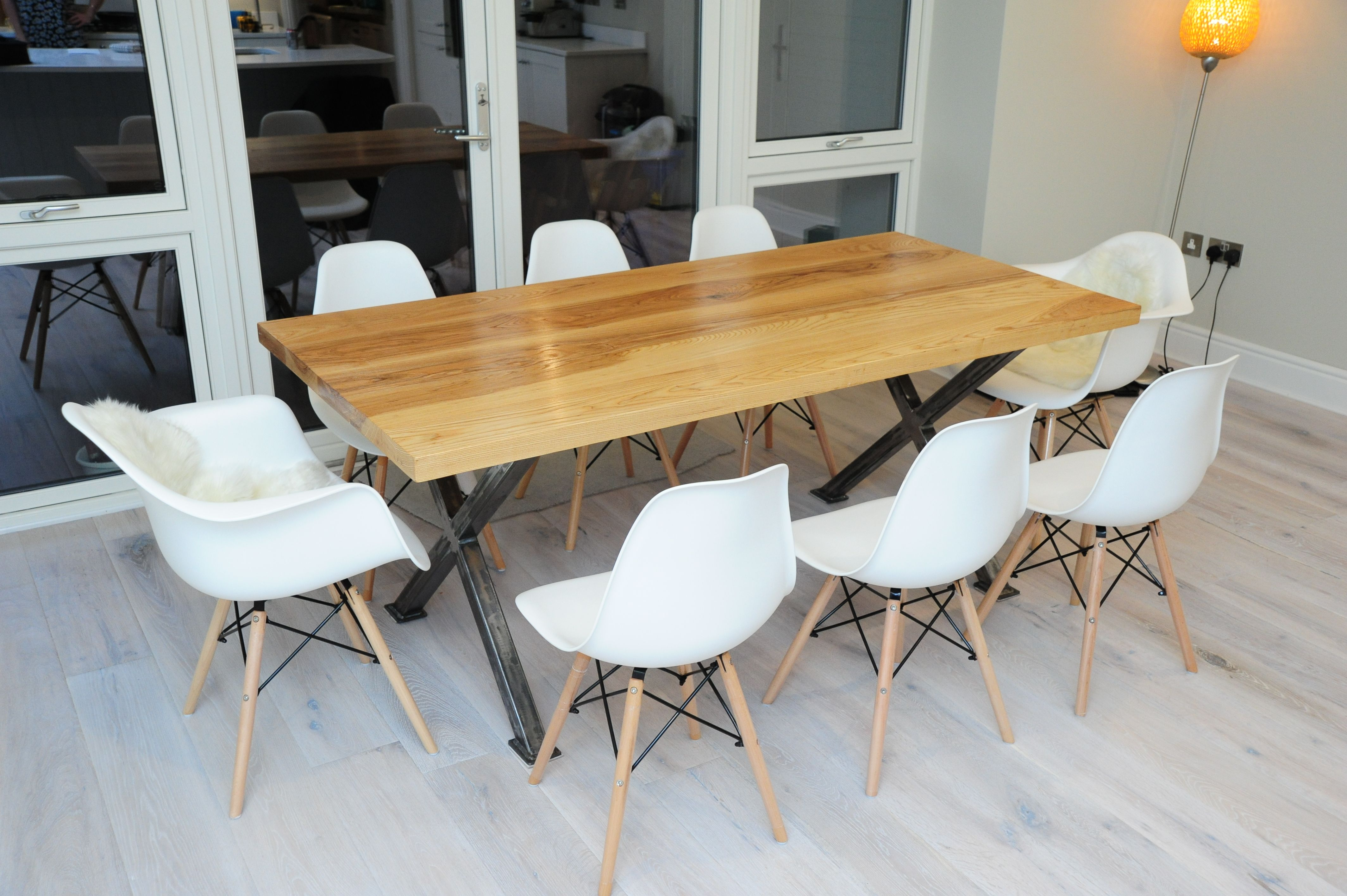 Bright And Fresh Eames Dsw Style Chairs Around A Solid Ash And