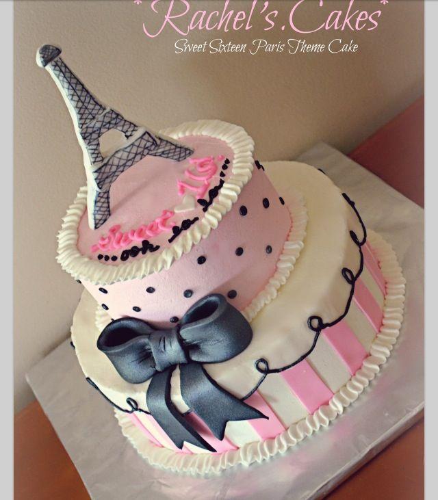 Paris Themed Sweet Sixteen Birthday Cake