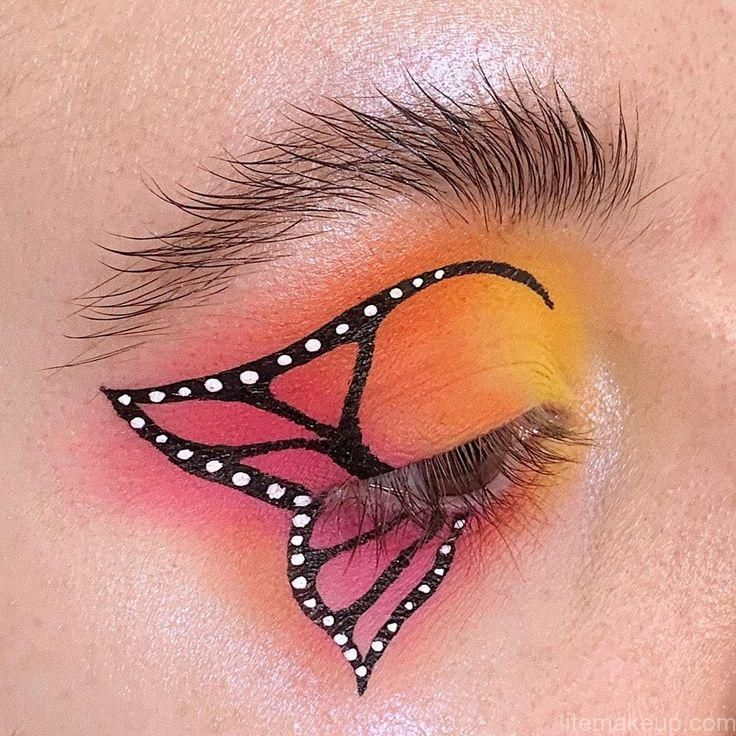 Lively Red & Orange Eye Shadow|Innovative Butterfly Appearance – Best Makeup Ideas