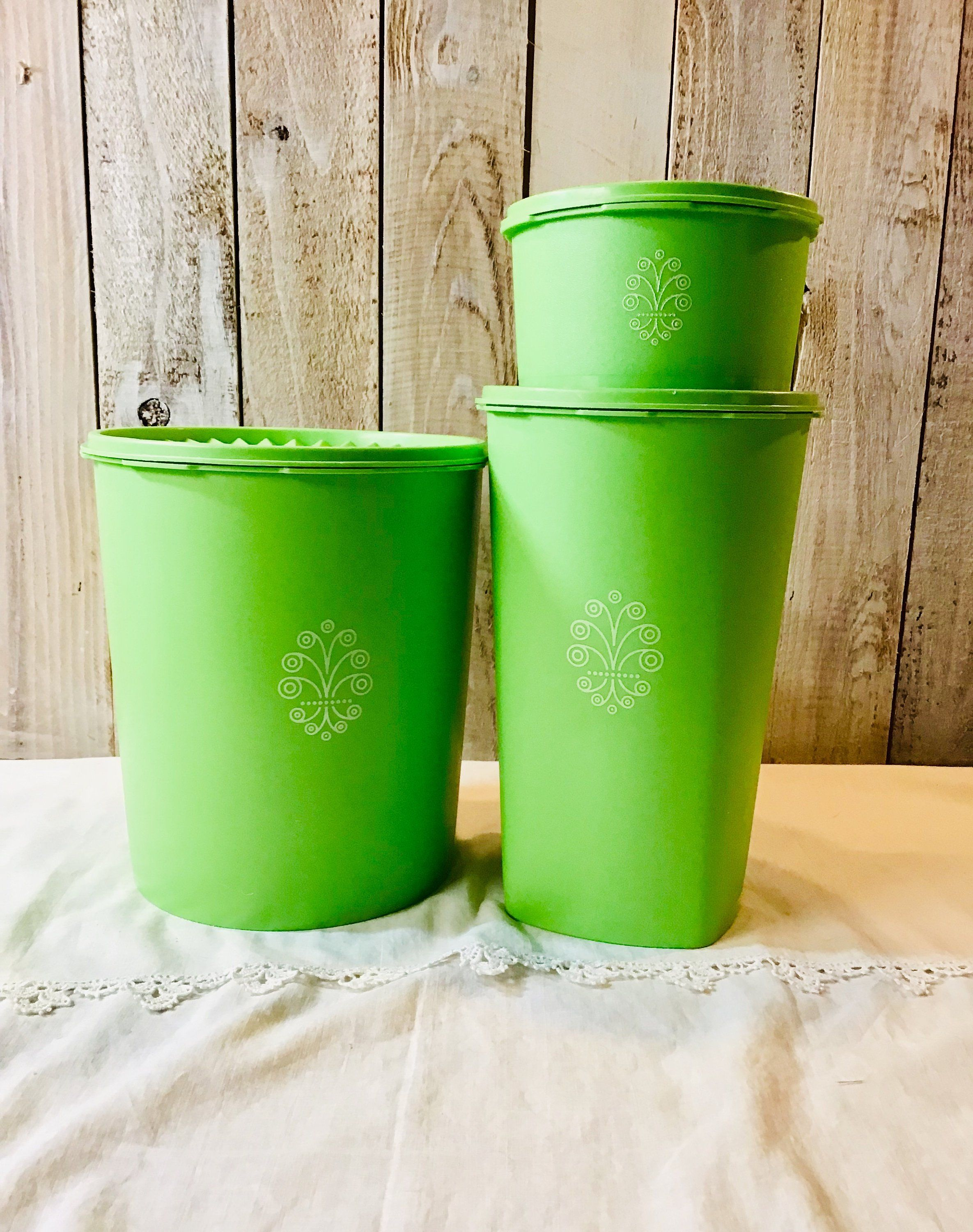 Three Vintage 1970s Lime Green Tupperware Canisters