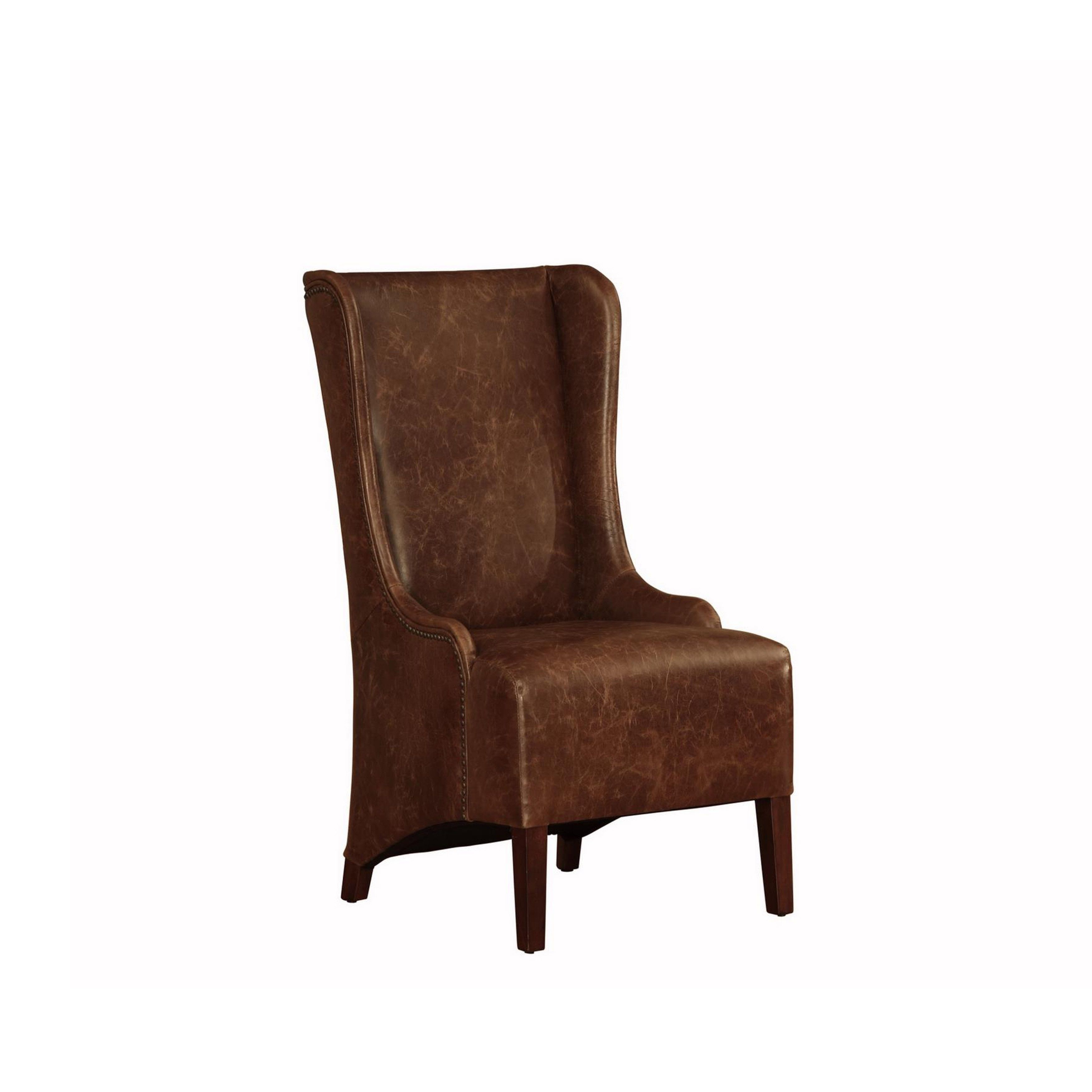 Lazzaro Leather King High Back Dining Chair Brown Fabric