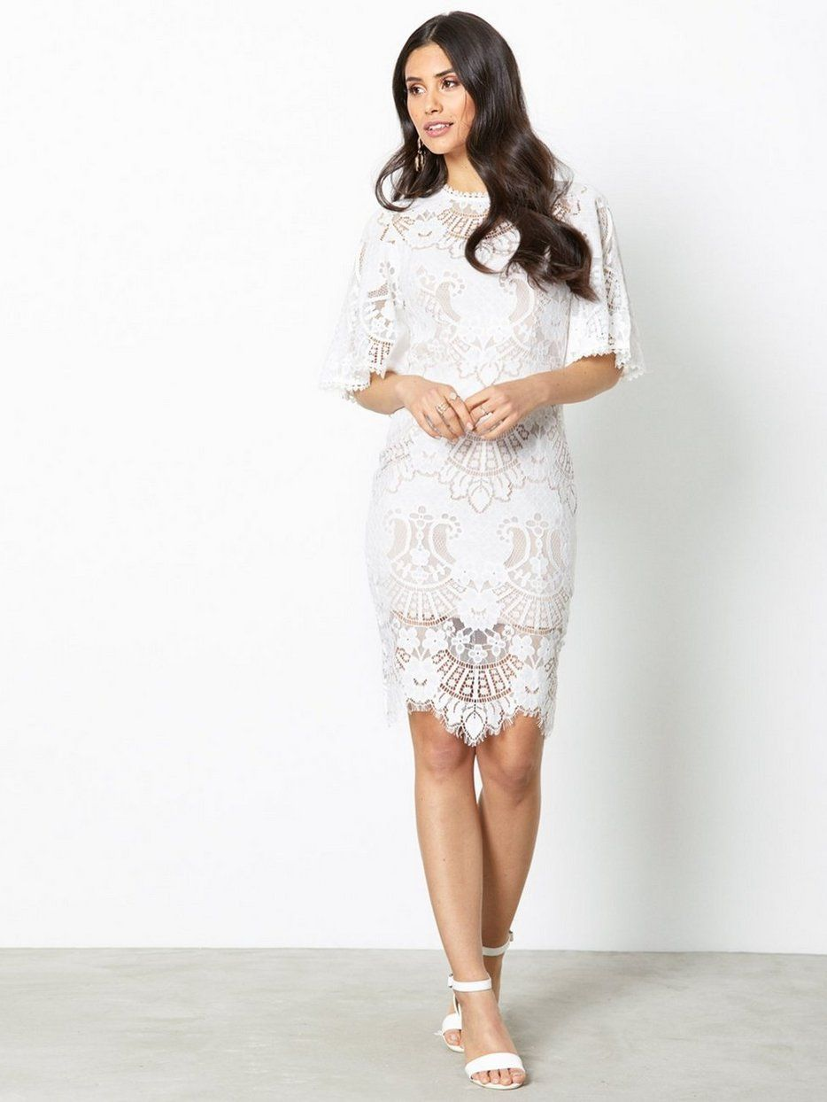 Lace dress open back  All Over Lace Open Back Mini Dress  wedding  Pinterest  Mini