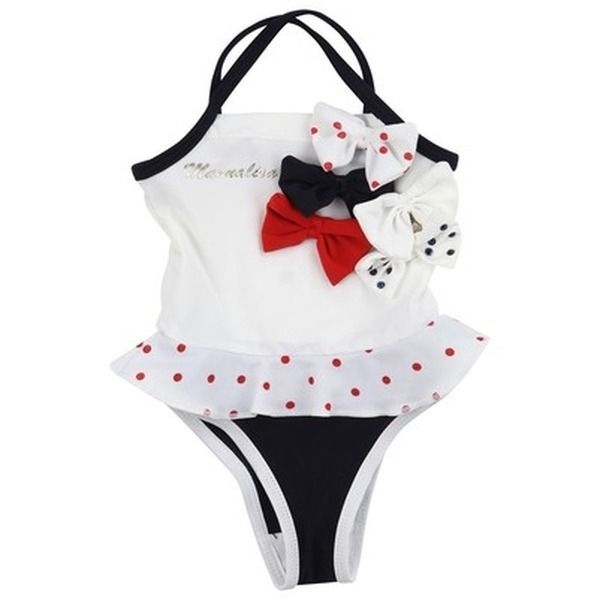 Monnalisa  Swimsuit - MONNALISA - exklusive kindermode baby, mädchen    Navy blue and white swimsuit made of stretch lycra. Spaghetti straps with a criss-cross shape at the back. Frill with red dots at the waist. Stitched blue, white and red bows at the top.