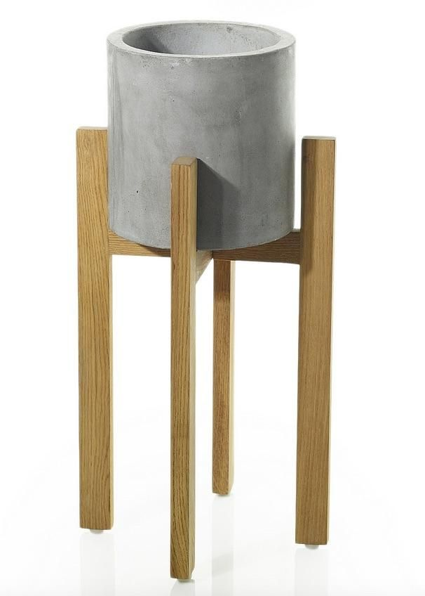 berlin wood and concrete plant stand 21 75 tall products rh pinterest at