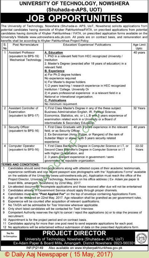 University Of Technology Nowshera Jobs Jobs In Pakistan