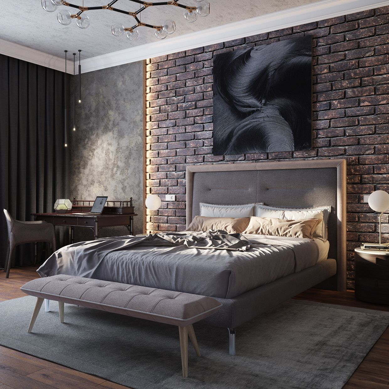 Accent wall with lightning on the sides