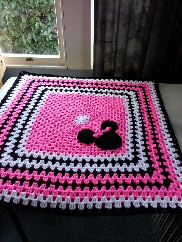 Mickey Mouse Crochet Baby Blanket Pattern : Minnie mouse baby blanket made by carol holt ? Pinterest