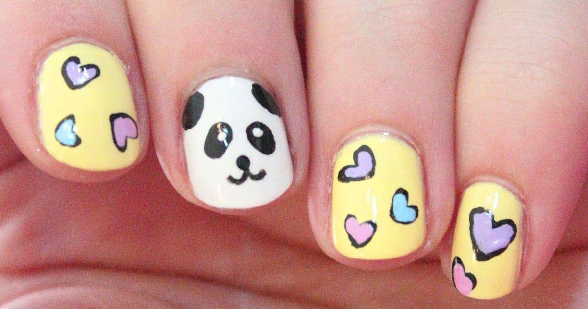 10 Easy Nail Art Designs For Cartoon Nail Art Cutepolish How To Paint Cute Panda Nail Art Diy In 2020 Panda Nail Art Simple Nail Art Designs Animal Print Nails Art