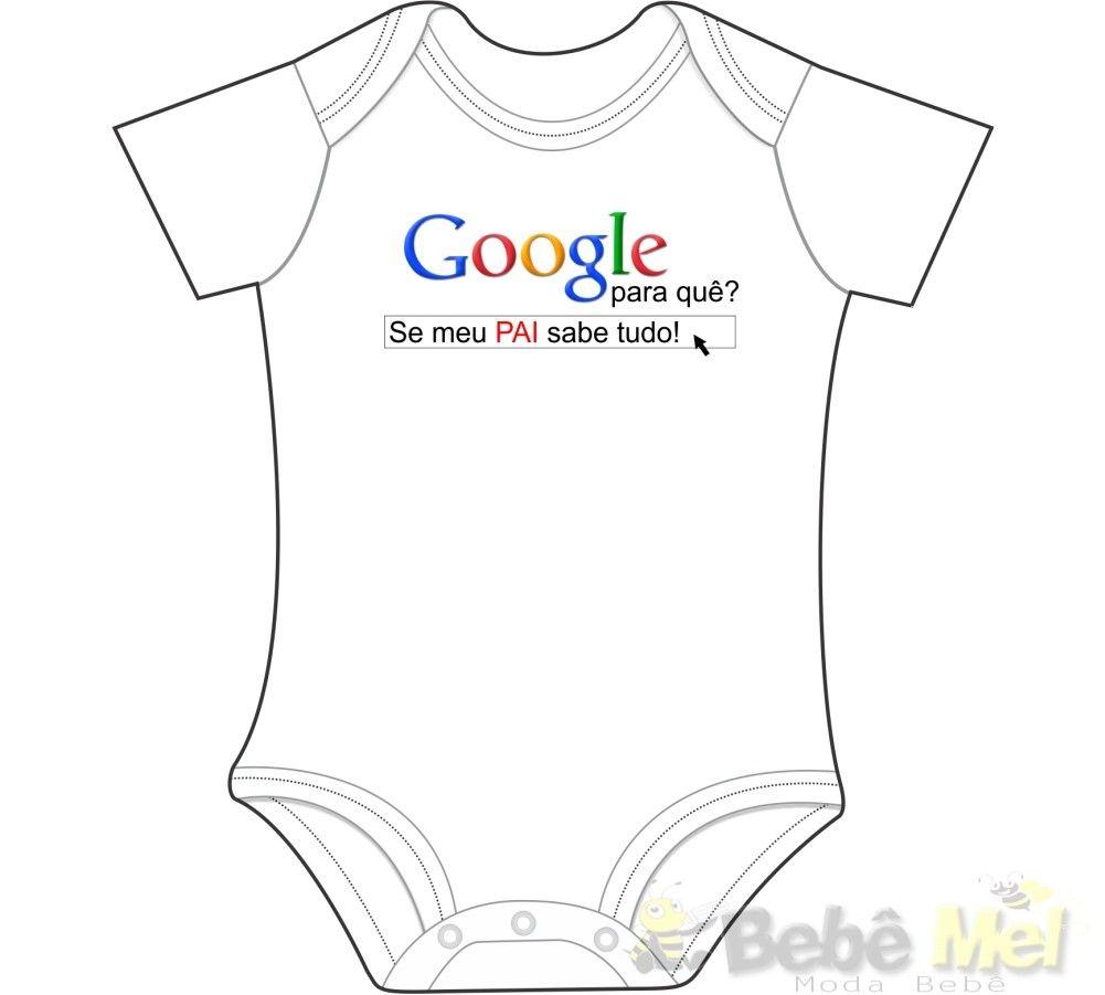 BODY PERSONALIZADO PARA BEBÊ GOOGLE PAPAI Cod:googlepai