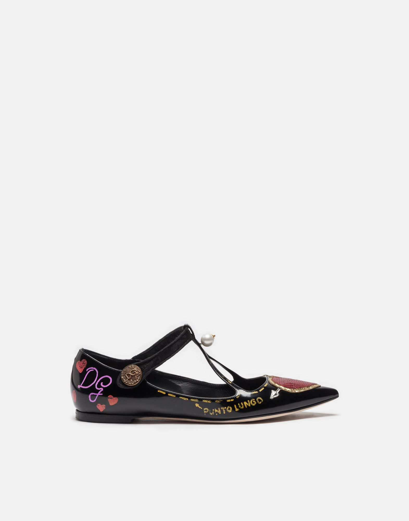 DOLCE & GABBANA | PRINTED LEATHER BALLET FLATS WITH APPLIQUÉ #Shoes # Slippers and Derby