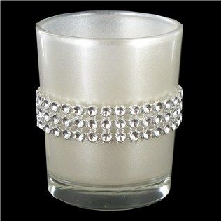 White Glass Candle Holder with Faux Diamonds | Shop Hobby Lobby