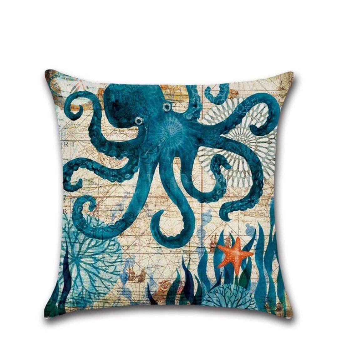 Fish Turtle Ocean Sea Pattern Cotton Linen Throw Pillow