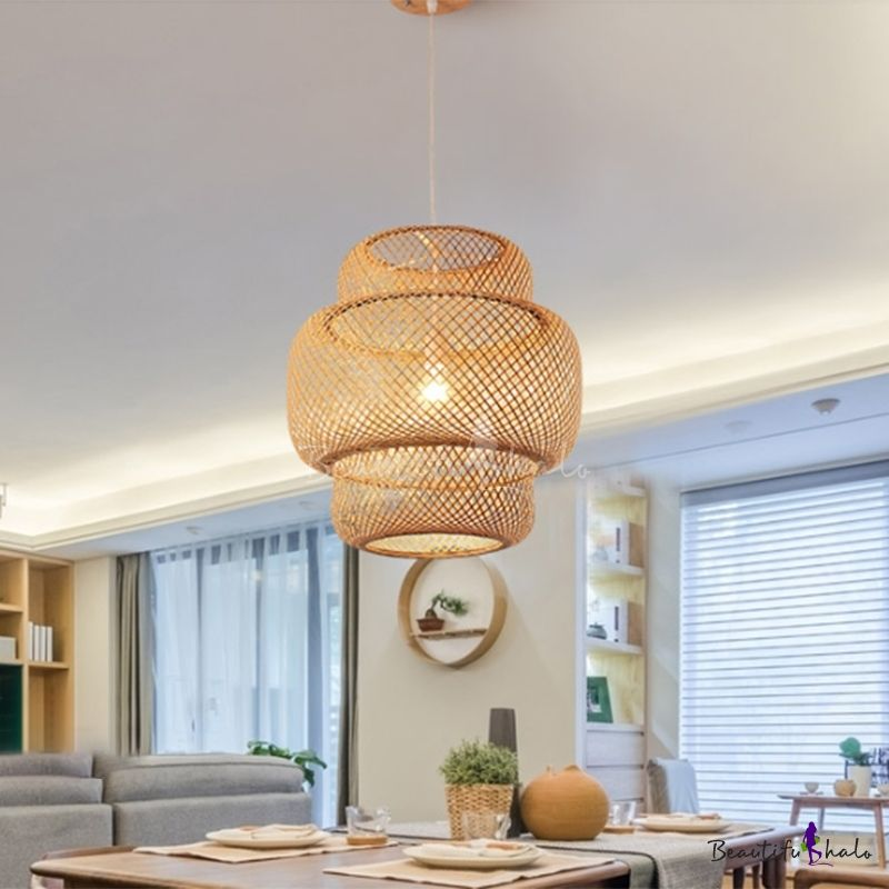 Modern Tiered Bamboo Pendant Lamp 15 in 2020 | Hanging light