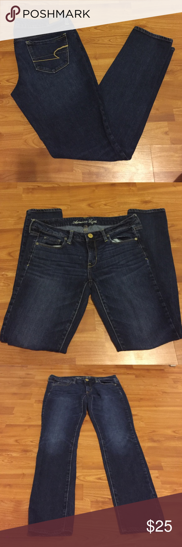 American Eagle Skinnies Beautiful dark wash AE skinny jeans size 8 regular length. No flaws :) offers welcomed and if you have any questions or would like more pictures just kindly comment :) American Eagle Outfitters Jeans Skinny