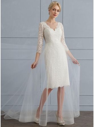 A-Line/Princess Scoop Neck Sweep Train Tulle Lace Wedding Dress ...