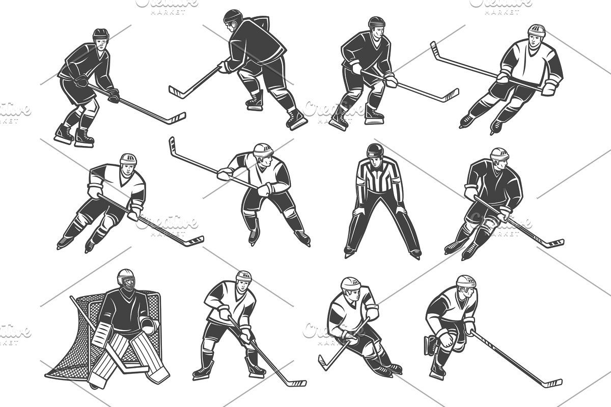 Ice Hockey Players Silhouettes Set In 2020 Ice Hockey Players Hockey Players Hockey