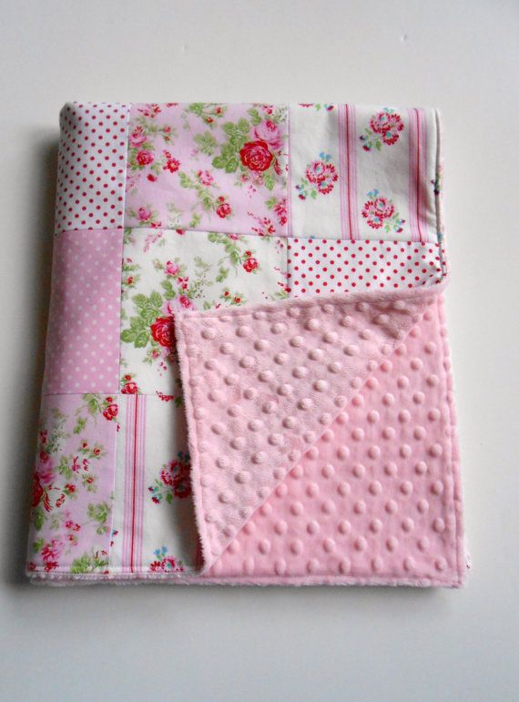 Minky Baby Girl Patchwork Quilt Blanket by KristensCoverlets | I'm ... : patchwork quilt blanket - Adamdwight.com