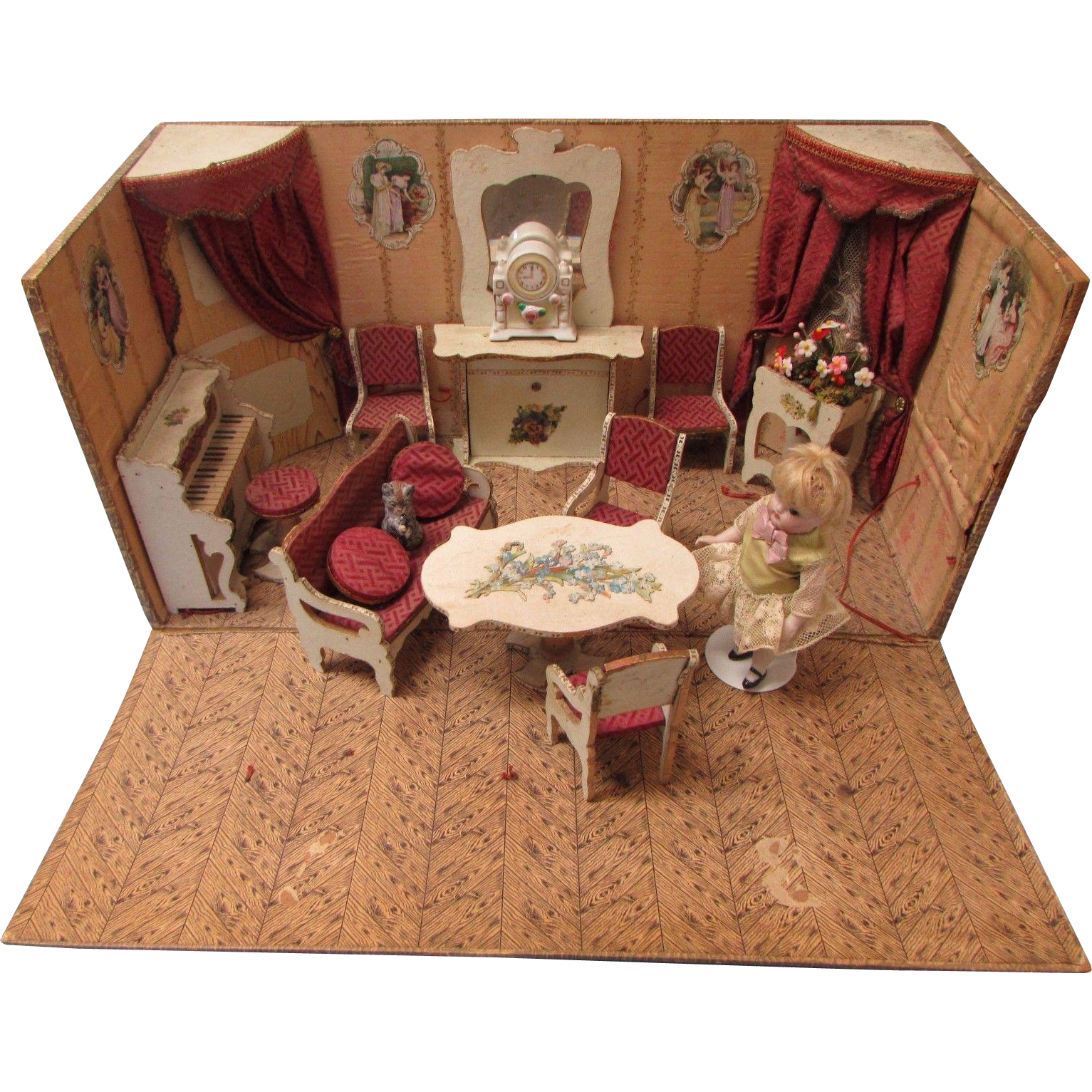 Antique French Miniature Dollhouse Burgundy Parlor Furnishings Room Box