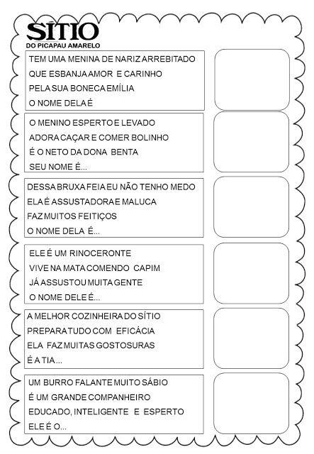 Adivinha Recorte E Cole Sitio Do Picapau Amarelo Danieducar Com