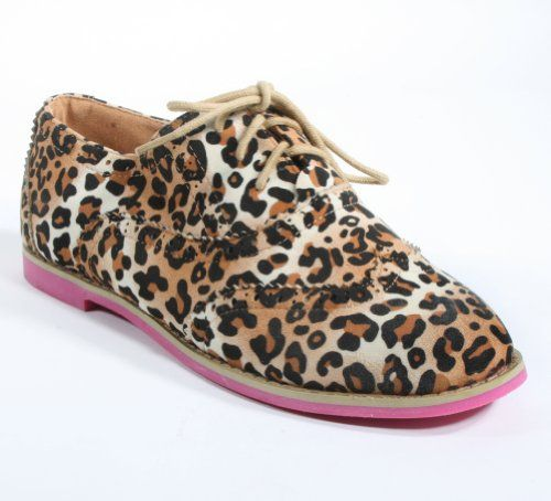 Leopard Cambridge-31 Womens Casual Lace-up Oxford Flat. I WANT THESE.