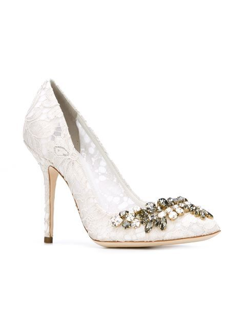 722b084712 Dolce   Gabbana Sapato de couro com renda