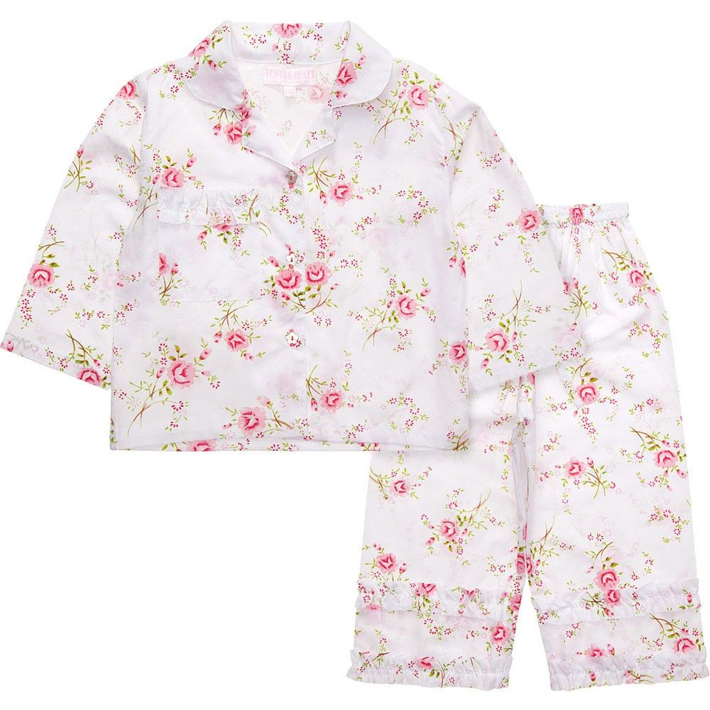 POWELL CRAFT GIRLS PYJAMAS,COTTON WHITE FLORAL DESIGN GIFT BOX!