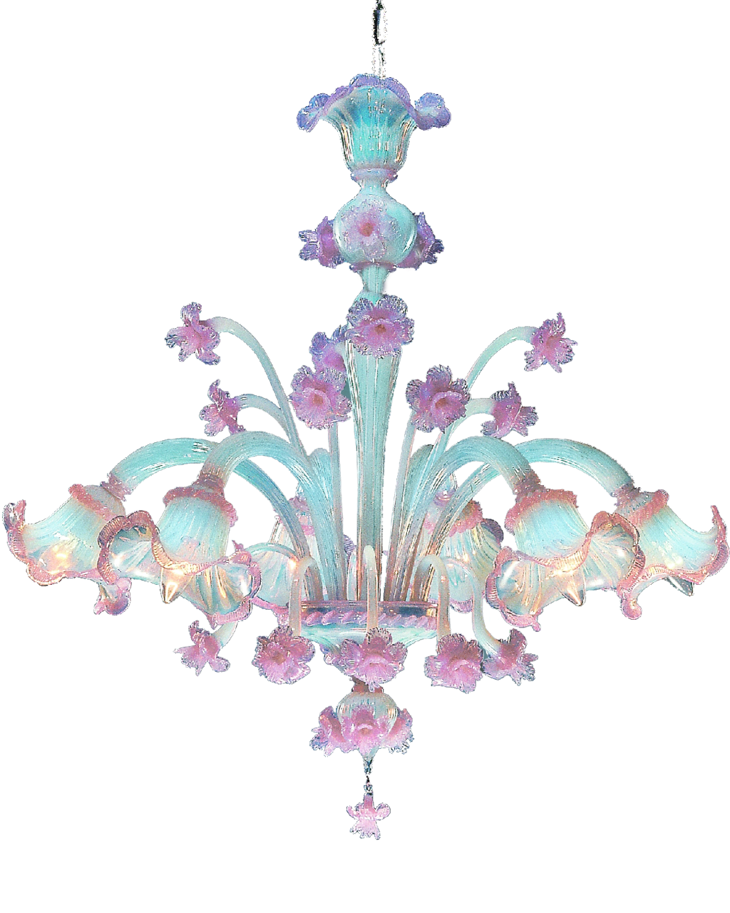 Murano Chandelier Nz: Murano Opale Rose 6 Lights Chandelier