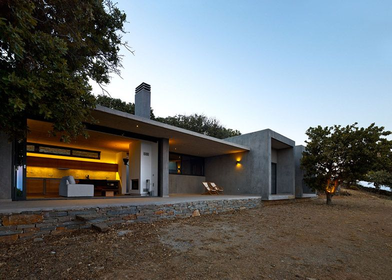 house in kea is a concrete home built around trees on a greek isle rh pinterest co uk
