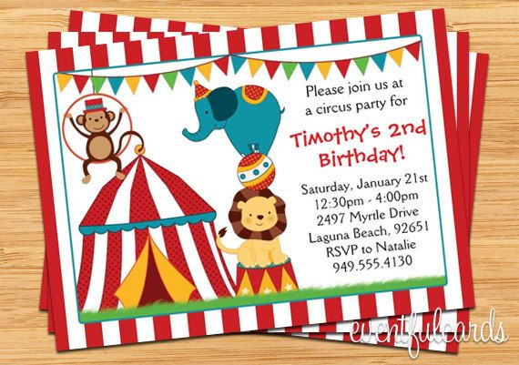 Circus Birthday Party Invitation For Kids  Kids Carnival